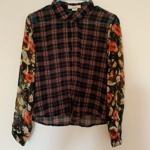 Blouse -  Floral and Stripes  - Small